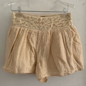 Free People Cream Lace Shorts